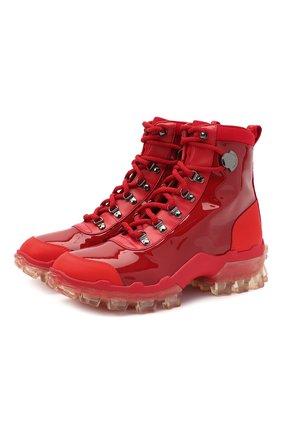 Женские кожаные ботинки helis MONCLER красного цвета, арт. F2-09B-4G706-00-01AHR | Фото 1
