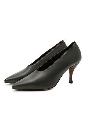 Женские кожаные туфли DRIES VAN NOTEN темно-зеленого цвета, арт. WW202/023/H80/QU101 | Фото 1