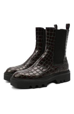Женские кожаные ботинки DRIES VAN NOTEN темно-коричневого цвета, арт. WW202/049/QU300 | Фото 1
