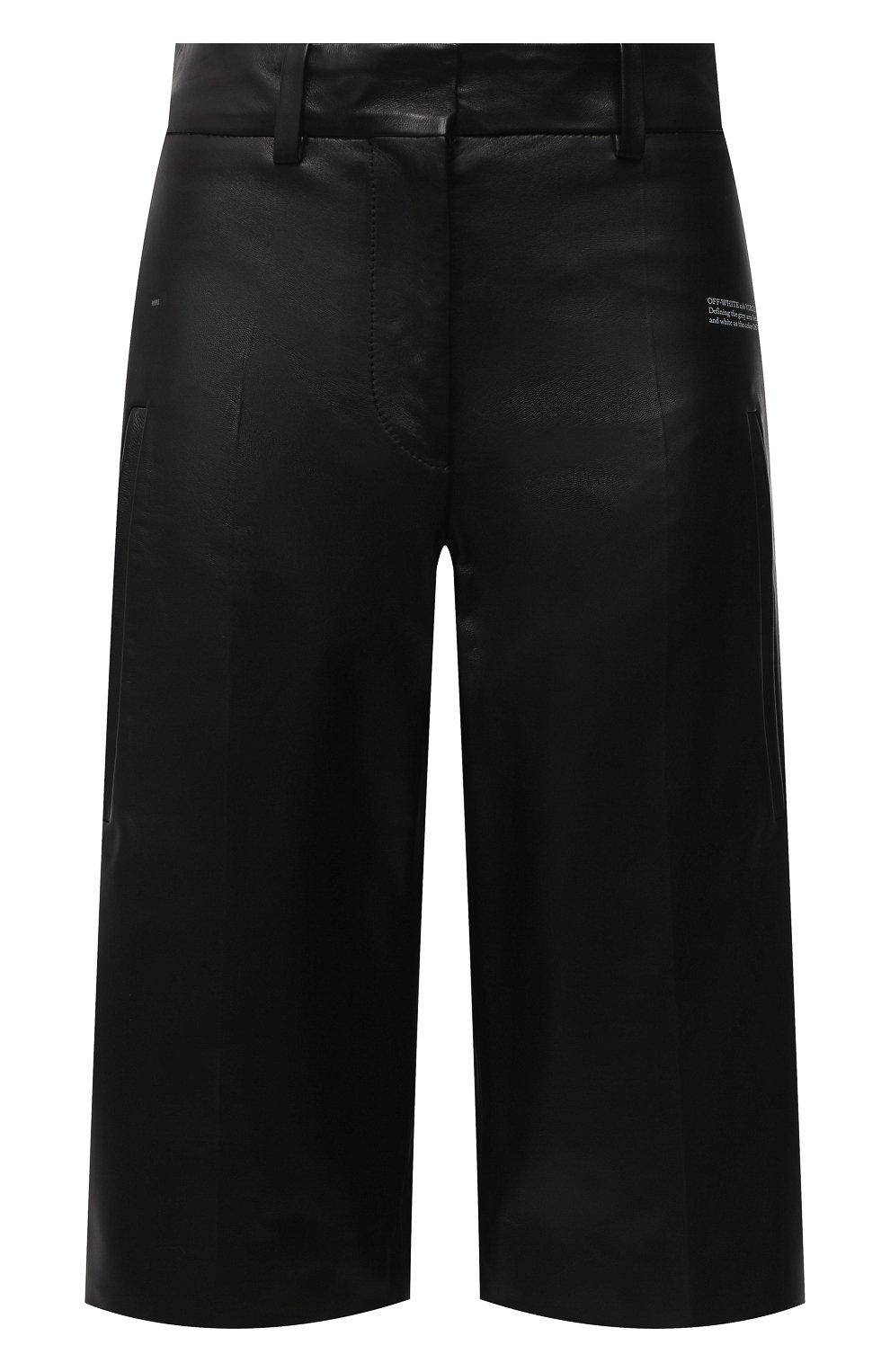 Женские кожаные шорты OFF-WHITE черного цвета, арт. 0WJF004F20LEA0011000   Фото 1 (Женское Кросс-КТ: Шорты-одежда; Стили: Гранж; Кросс-КТ: Широкие; Длина Ж (юбки, платья, шорты): До колена; Материал подклада: Вискоза)