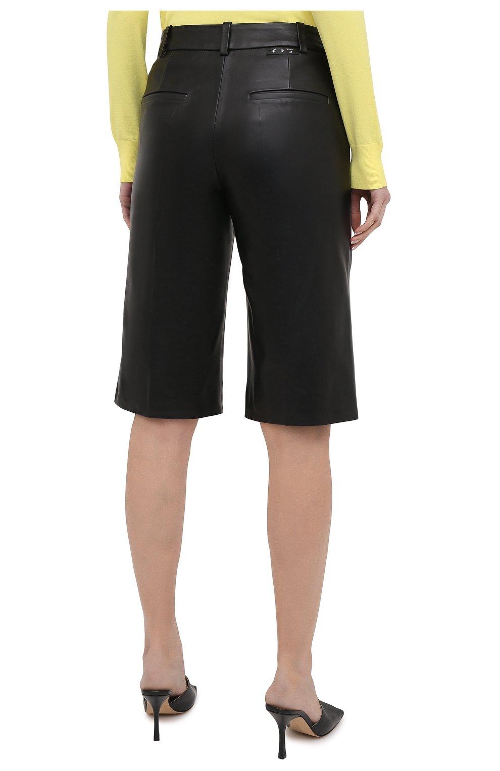 Женские кожаные шорты OFF-WHITE черного цвета, арт. 0WJF004F20LEA0011000   Фото 4 (Женское Кросс-КТ: Шорты-одежда; Стили: Гранж; Кросс-КТ: Широкие; Длина Ж (юбки, платья, шорты): До колена; Материал подклада: Вискоза)