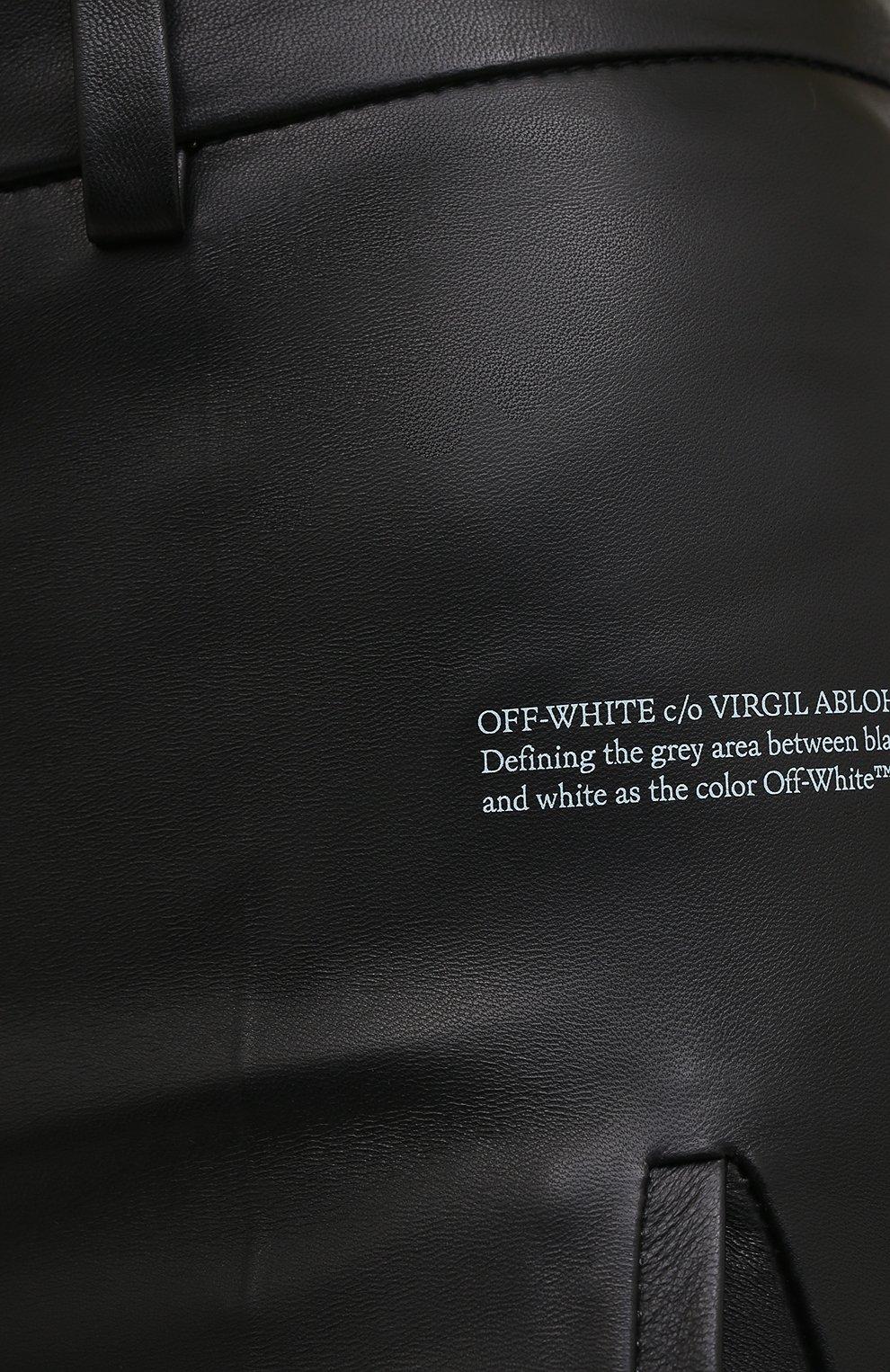 Женские кожаные шорты OFF-WHITE черного цвета, арт. 0WJF004F20LEA0011000   Фото 5 (Женское Кросс-КТ: Шорты-одежда; Стили: Гранж; Кросс-КТ: Широкие; Длина Ж (юбки, платья, шорты): До колена; Материал подклада: Вискоза)