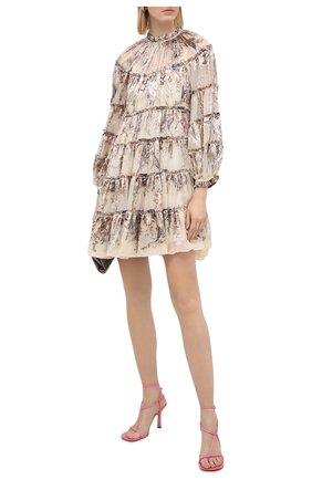 Женское платье из вискозы и шелка ZIMMERMANN бежевого цвета, арт. 9462DLAD | Фото 2