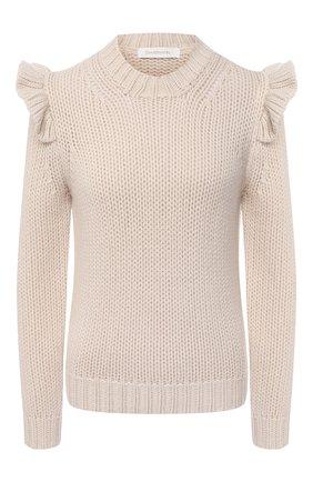 Женский шерстяной свитер ZIMMERMANN кремвого цвета, арт. 8648TLAD | Фото 1
