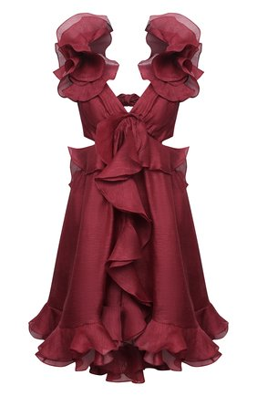 Женское платье из шелка и льна ZIMMERMANN бордового цвета, арт. 7551DLAD | Фото 1