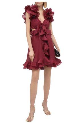 Женское платье из шелка и льна ZIMMERMANN бордового цвета, арт. 7551DLAD | Фото 2