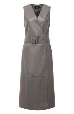 Женское кожаное платье JOSEPH серого цвета, арт. JF005102 | Фото 1
