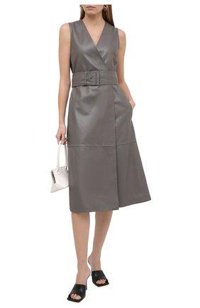 Женское кожаное платье JOSEPH серого цвета, арт. JF005102 | Фото 2