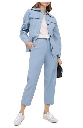 Женские брюки из шерсти и хлопка ERIKA CAVALLINI голубого цвета, арт. W0/P/P0WI02 | Фото 2