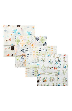 Детского комплект из 4-х пеленок ADEN+ANAIS белого цвета, арт. 2057G | Фото 1