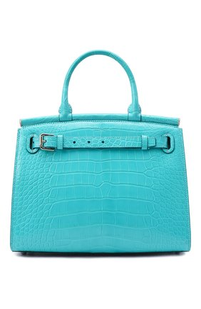 Женская сумка rl50 large из кожи аллигатора RALPH LAUREN бирюзового цвета, арт. 435769042/AMIS | Фото 1