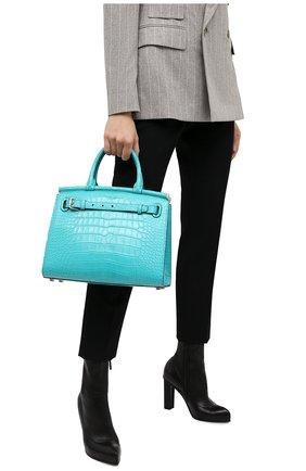 Женская сумка rl50 large из кожи аллигатора RALPH LAUREN бирюзового цвета, арт. 435769042/AMIS | Фото 2