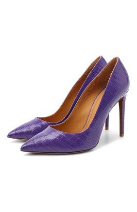 Женские туфли celia из кожи крокодила RALPH LAUREN фиолетового цвета, арт. 807824261/CNIL   Фото 1