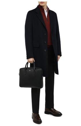 Мужская кожаная сумка для ноутбука BOSS черного цвета, арт. 50390138 | Фото 2