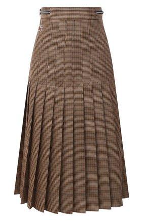 Женская плиссированная юбка LACOSTE бежевого цвета, арт. JF4763 | Фото 1 (Материал внешний: Шерсть, Синтетический материал; Женское Кросс-КТ: юбка-плиссе, Юбка-одежда; Длина Ж (юбки, платья, шорты): Миди; Стили: Кэжуэл)