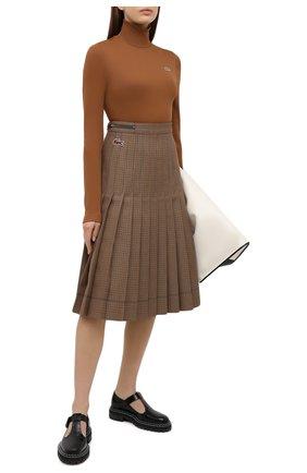 Женская плиссированная юбка LACOSTE бежевого цвета, арт. JF4763 | Фото 2 (Материал внешний: Шерсть, Синтетический материал; Женское Кросс-КТ: юбка-плиссе, Юбка-одежда; Длина Ж (юбки, платья, шорты): Миди; Стили: Кэжуэл)