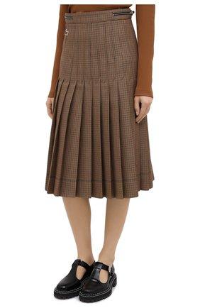 Женская плиссированная юбка LACOSTE бежевого цвета, арт. JF4763 | Фото 3 (Материал внешний: Шерсть, Синтетический материал; Женское Кросс-КТ: юбка-плиссе, Юбка-одежда; Длина Ж (юбки, платья, шорты): Миди; Стили: Кэжуэл)