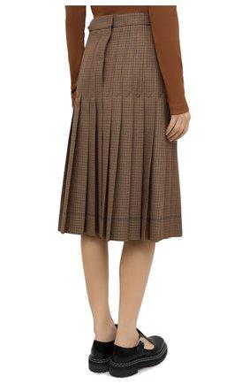 Женская плиссированная юбка LACOSTE бежевого цвета, арт. JF4763 | Фото 4 (Материал внешний: Шерсть, Синтетический материал; Женское Кросс-КТ: юбка-плиссе, Юбка-одежда; Длина Ж (юбки, платья, шорты): Миди; Стили: Кэжуэл)