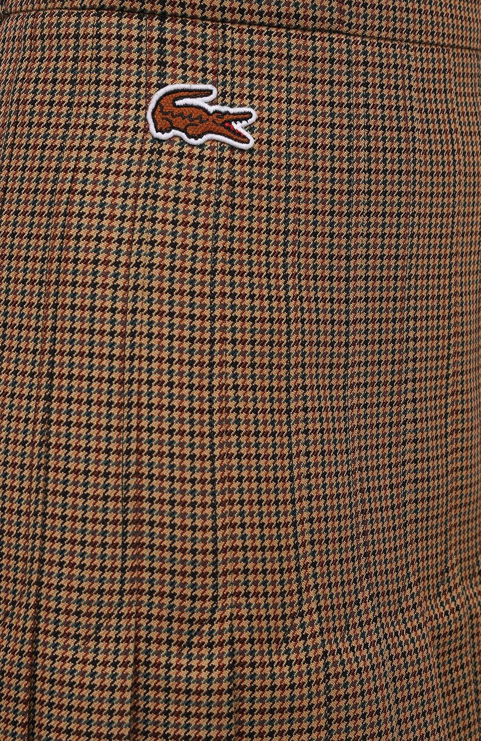 Женская плиссированная юбка LACOSTE бежевого цвета, арт. JF4763 | Фото 5 (Материал внешний: Шерсть, Синтетический материал; Женское Кросс-КТ: юбка-плиссе, Юбка-одежда; Длина Ж (юбки, платья, шорты): Миди; Стили: Кэжуэл)