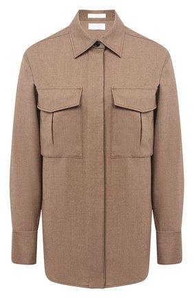 Женская шерстяная рубашка BOSS бежевого цвета, арт. 50437827 | Фото 1