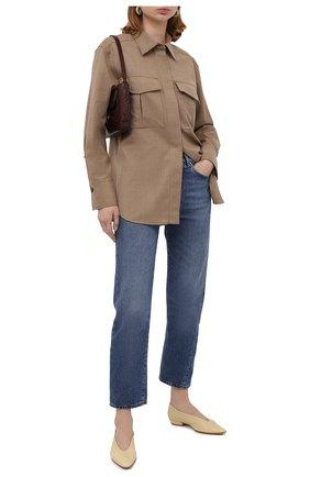 Женская шерстяная рубашка BOSS бежевого цвета, арт. 50437827 | Фото 2
