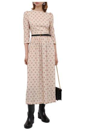 Женское платье из вискозы ULYANA SERGEENKO светло-бежевого цвета, арт. ABM001CLASS (0088т20) | Фото 2