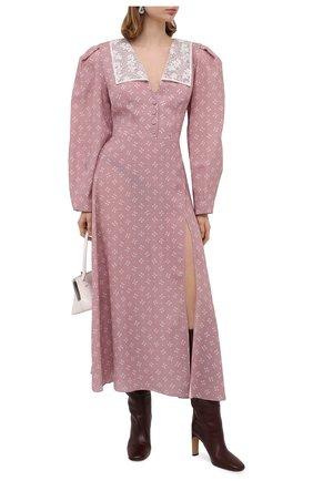 Женское шелковое платье ULYANA SERGEENKO сиреневого цвета, арт. ABM009FW20P (1739т20) | Фото 2