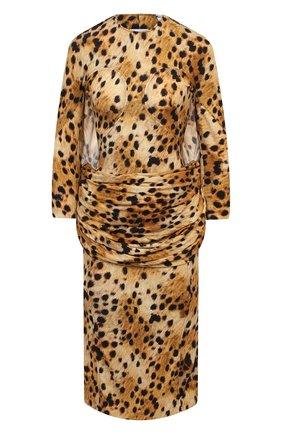 Женское платье из вискозы BURBERRY леопардового цвета, арт. 4566772 | Фото 1 (Длина Ж (юбки, платья, шорты): Миди; Женское Кросс-КТ: Платье-одежда; Случай: Коктейльный; Стили: Романтичный; Материал внешний: Вискоза; Рукава: Длинные)