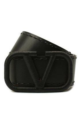 Женский кожаный ремень  VALENTINO черного цвета, арт. UW0T0S10/HEW | Фото 1 (Материал: Кожа)