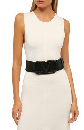 Женский кожаный ремень  VALENTINO черного цвета, арт. UW0T0S10/HEW | Фото 2 (Материал: Кожа)