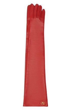 Женские кожаные перчатки VALENTINO красного цвета, арт. UW0GCA19/WJW | Фото 1 (Длина (верхняя одежда): Длинные)
