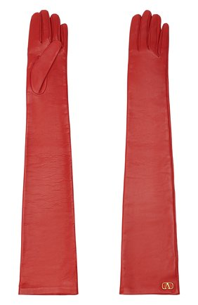 Женские кожаные перчатки VALENTINO красного цвета, арт. UW0GCA19/WJW | Фото 2 (Длина (верхняя одежда): Длинные)