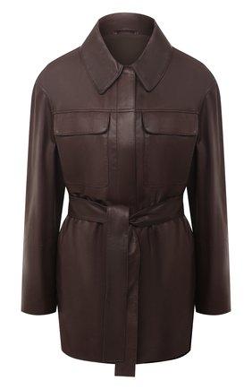 Женская кожаная рубашка BRUNELLO CUCINELLI темно-коричневого цвета, арт. MPTAN8962 | Фото 1