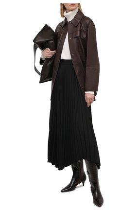 Женская кожаная рубашка BRUNELLO CUCINELLI темно-коричневого цвета, арт. MPTAN8962 | Фото 2
