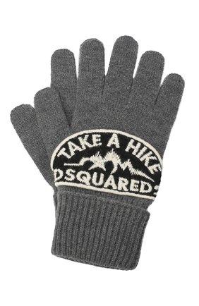 Мужские шерстяные перчатки DSQUARED2 серого цвета, арт. KNM0014 01W03533 | Фото 1