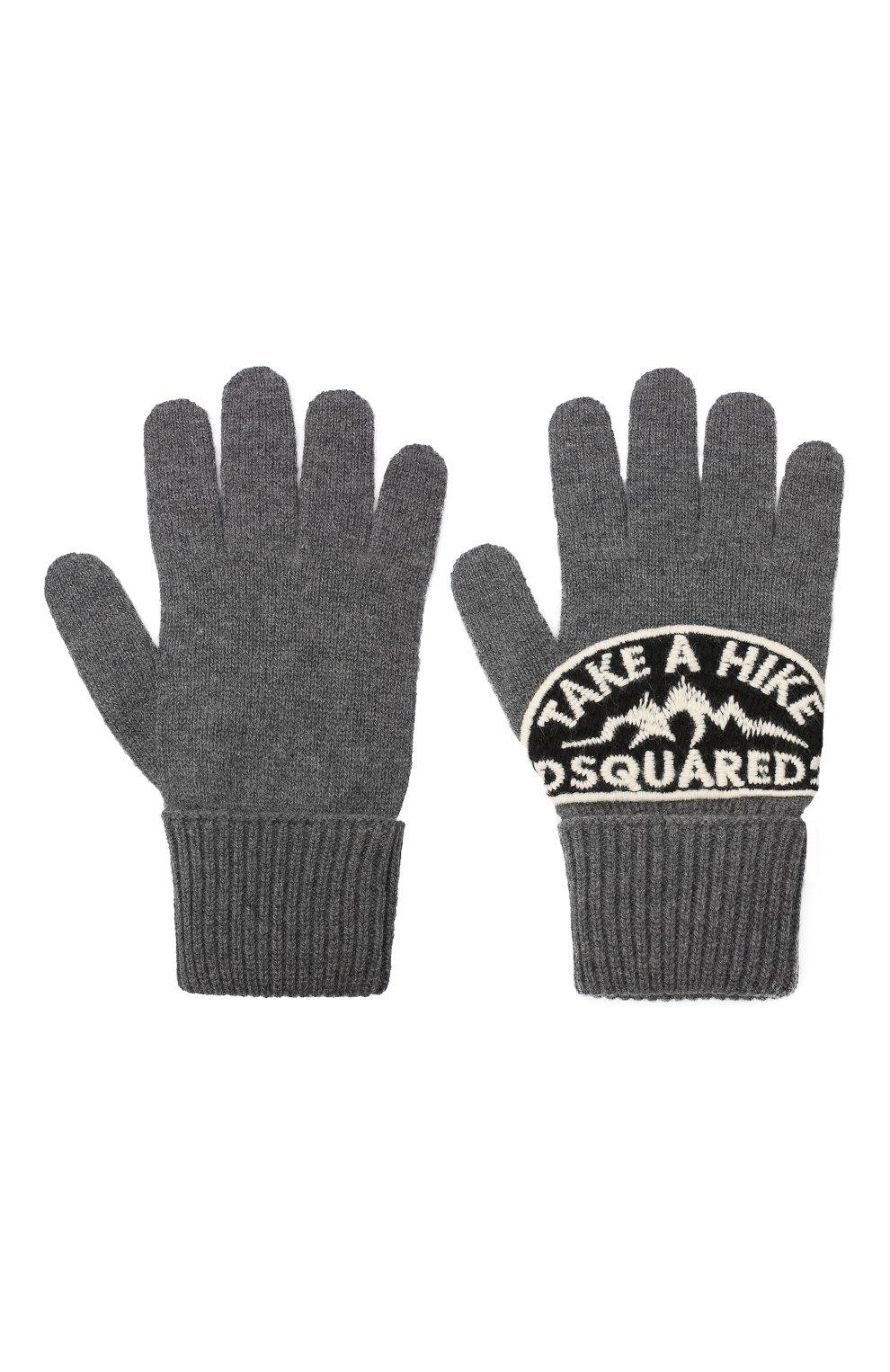 Мужские шерстяные перчатки DSQUARED2 серого цвета, арт. KNM0014 01W03533 | Фото 2