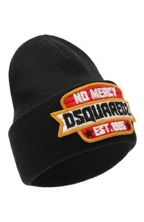Мужская шерстяная шапка DSQUARED2 черного цвета, арт. KNM0001 01W03532 | Фото 1