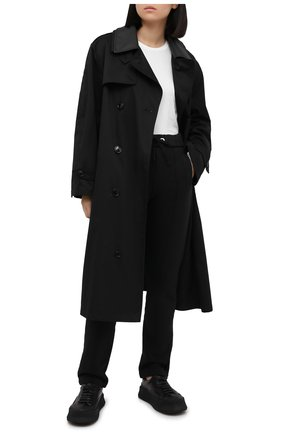 Женские хлопковые брюки PALM ANGELS черного цвета, арт. PWCA045F20FLE0011010 | Фото 2