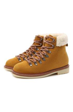 Женские замшевые ботинки LORO PIANA желтого цвета, арт. FAL4172 | Фото 1