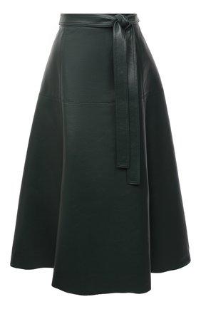 Женская кожаная юбка OSCAR DE LA RENTA зеленого цвета, арт. 20PN412LEA | Фото 1