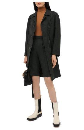 Женские шерстяные шорты MAISON MARGIELA темно-зеленого цвета, арт. S29MU0068/S53407 | Фото 2