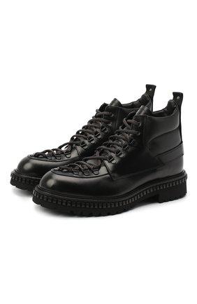 Мужские кожаные ботинки ATTIMONELLI'S черного цвета, арт. AA445 | Фото 1
