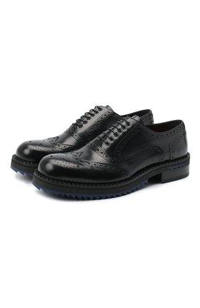 Мужские кожаные оксфорды ATTIMONELLI'S черного цвета, арт. AA457 | Фото 1