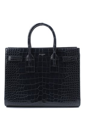 Женская сумка sac de jour SAINT LAURENT темно-синего цвета, арт. 398709/E5V0N | Фото 1 (Ремень/цепочка: На ремешке; Размер: medium; Сумки-технические: Сумки top-handle, Сумки через плечо)