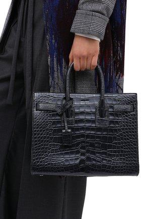 Женская сумка sac de jour SAINT LAURENT темно-синего цвета, арт. 398709/E5V0N | Фото 2 (Ремень/цепочка: На ремешке; Размер: medium; Сумки-технические: Сумки top-handle, Сумки через плечо)