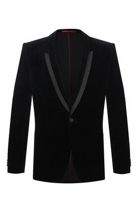 Мужской хлопковый пиджак HUGO черного цвета, арт. 50439999 | Фото 1