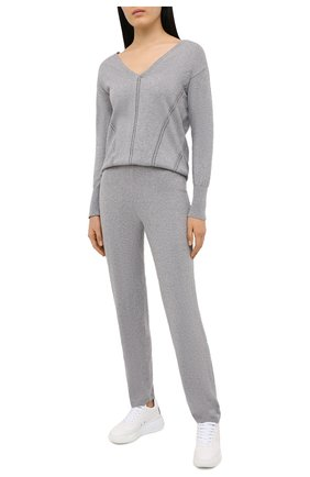 Женский пуловер MAISON LEJABY серого цвета, арт. 171397   Фото 2