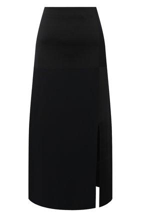 Женская юбка из шелка и вискозы JIL SANDER черного цвета, арт. JSWR754343-WRY39058 | Фото 1