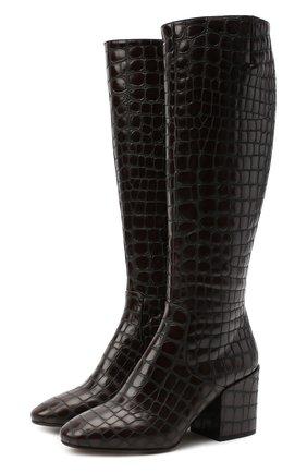 Женские кожаные сапоги DRIES VAN NOTEN темно-коричневого цвета, арт. WW202/021/H70/QU300   Фото 1