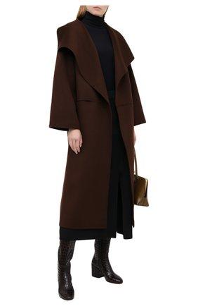 Женские кожаные сапоги DRIES VAN NOTEN темно-коричневого цвета, арт. WW202/021/H70/QU300   Фото 2